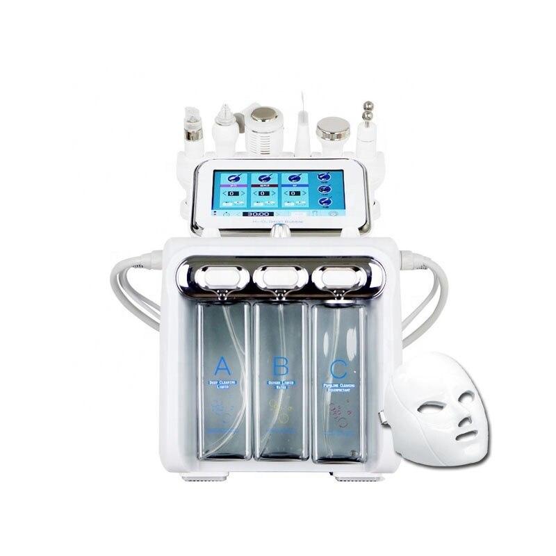 7 في 1 جلدي الجلد هيدرا تنظيف فوهة/ قناع الأكسجين قشر الجمال العناية بالوجه الأكسجين معدات H2O2 آلة فقاعة صغيرة