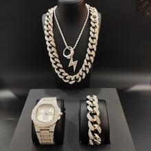 Luxury Men Silver Color Watch & Necklace & Pendant &Bracelet&Ring Combo Set Ice Out Cuban Crystal Miami Necklace Hip Hop For Men