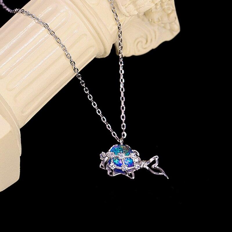 Женское-Ожерелье-чокер-из-серебра-925-пробы-с-подвеской-«русалка»