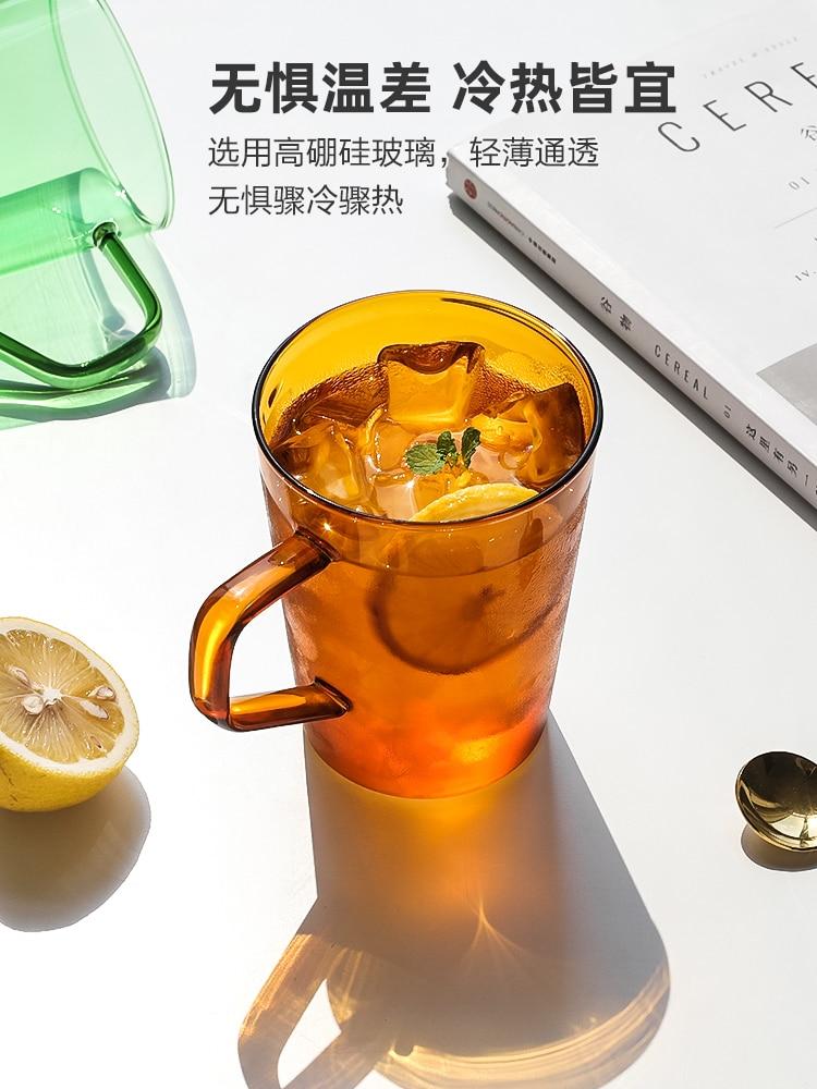 Taza de Cristal para café de color nórdico, transparente, resistente al calor,...