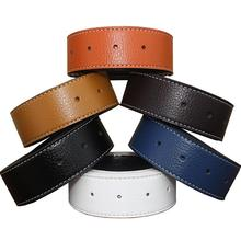 2020 New 3.7cm Luxury Men's Leather Automatic Ribbon Waist Strap Belt Without Buckle Black