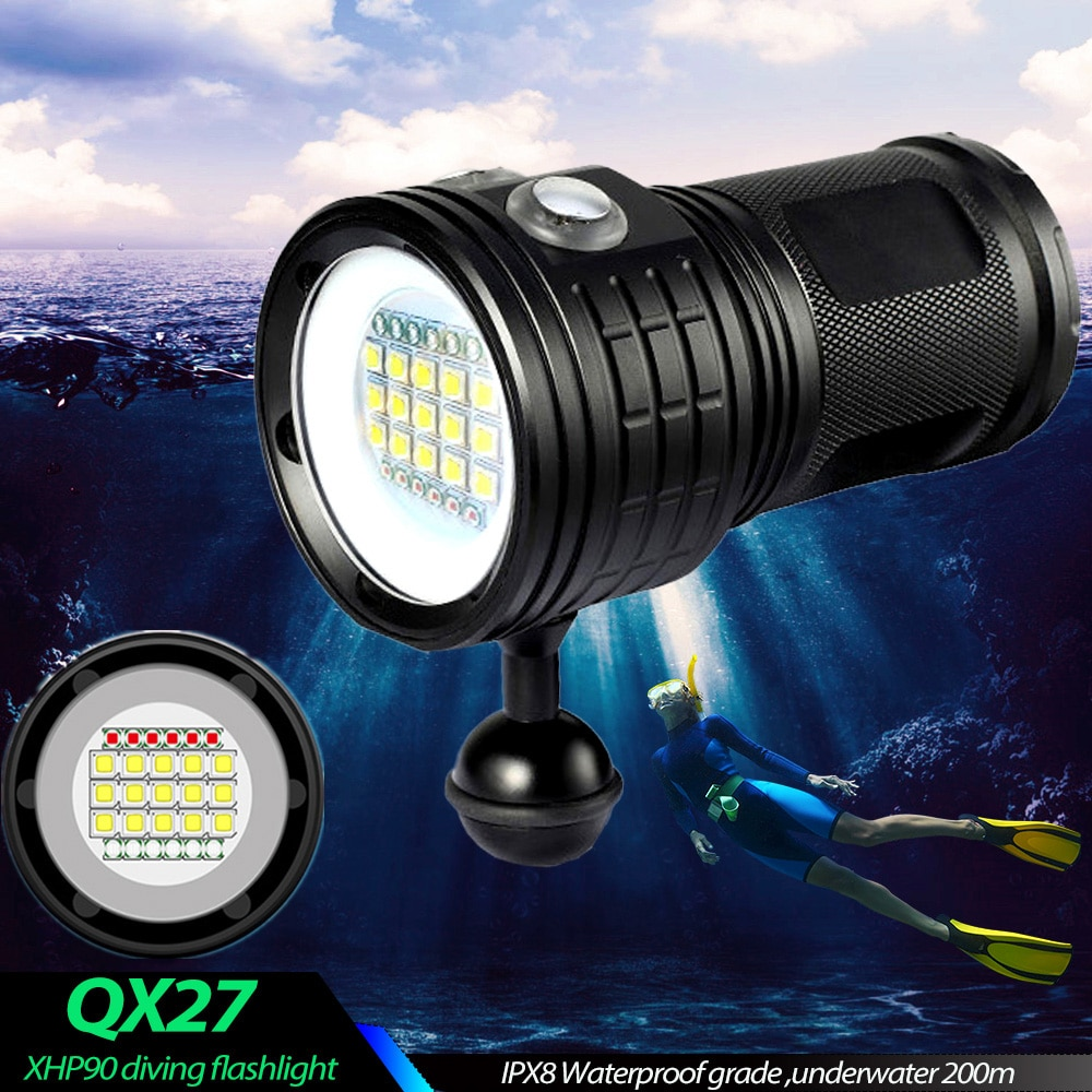 Most Power Professional Diving Flashlight L2 Portable Scuba Dive torch 200M Underwater IPX8 Waterproof 4*18650 Flashlights Lamp