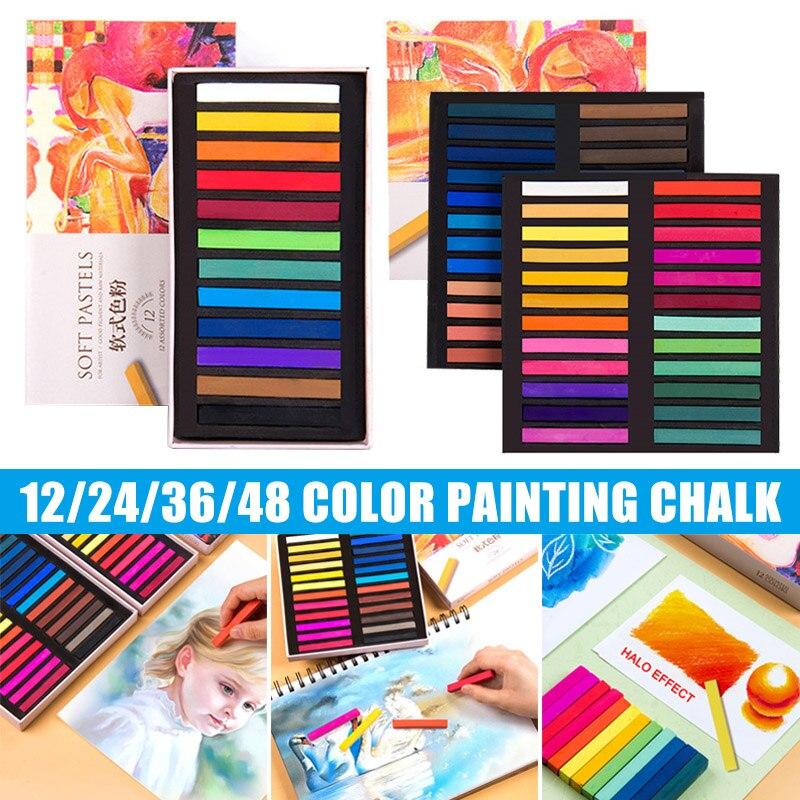 Soft Pastel Set Square Pastels Chalks Square Artist Pastel Set Box of 12/24/36/48 Assorted Colors @M23