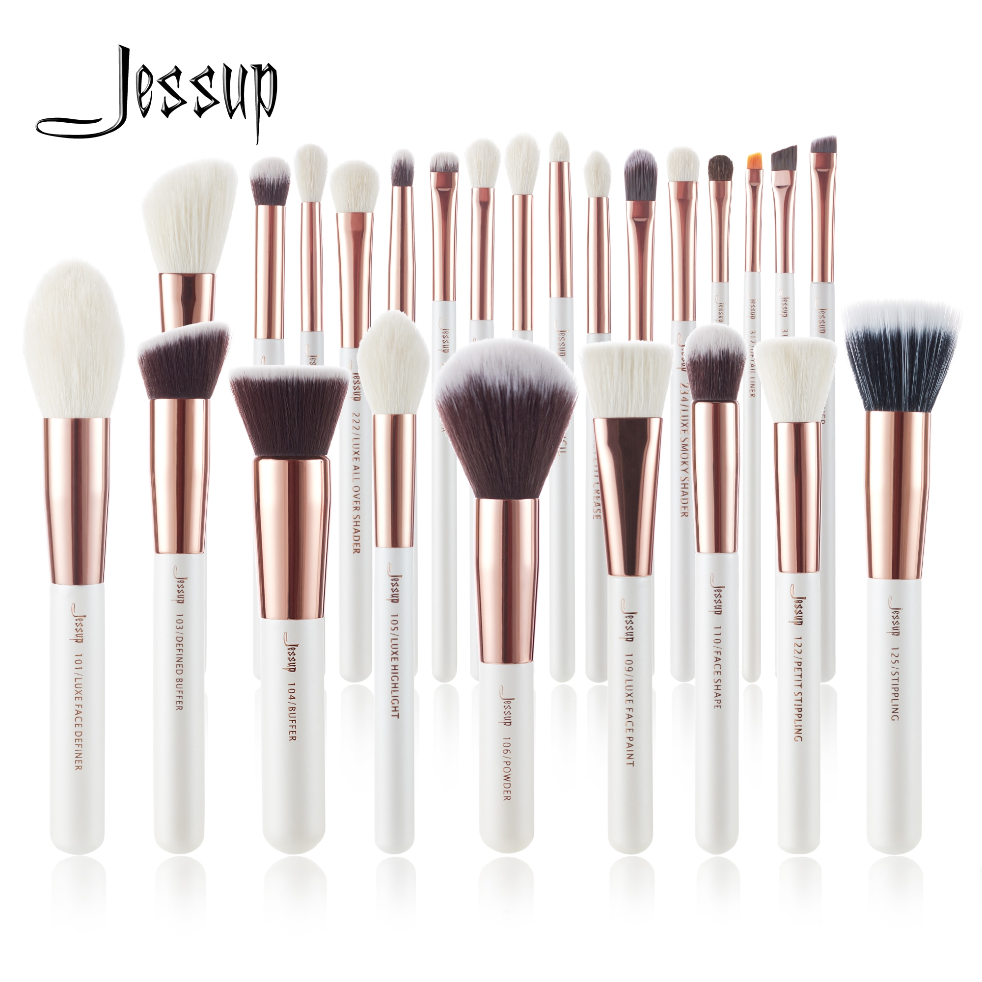 Jessup Makeup brushes set 6-25pcs Pearl White / Rose Gold Professional Make up brush Natural hair Fo