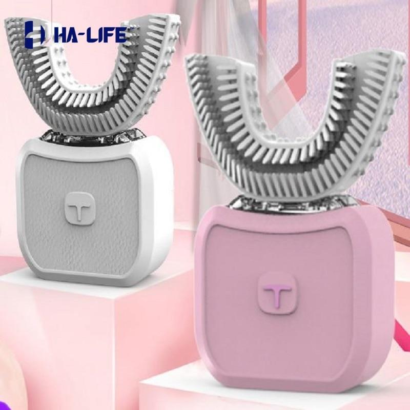 HA-Life U-shaped 360° Automatic Sonic Electronic Toothbrush USB Rechargeable Ultrasonic Yellow Tooth Beauty Whitening Toothbrush enlarge