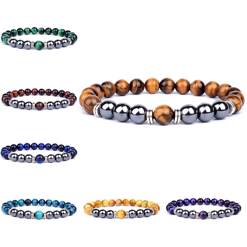 gunmetal color charm bracelet pave rhinstone bracelet amazonite beads bracelet for women natural stone for women Natural Tiger Eye Beads Bracelet Hematite Stone Beaded Yoga Energy Bracelet for Women Men Charm Jewelry Gifts Pulsera de hombre