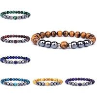natural tiger eye beads bracelet hematite stone beaded yoga energy bracelet for women men charm jewelry gifts pulsera de hombre