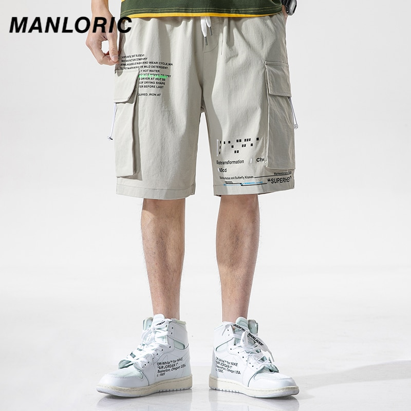 MANLORIC 2020 New Men Casual Shorts Multi Pockets Cargo Shorts Mens Casual Summer Hip Hop Baggy Streetwear Safari Style
