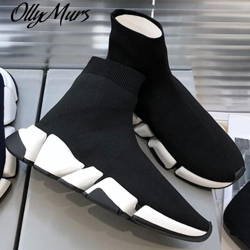 Ollymurs تريند عالية كبار السيدات أحذية مريحة المشي الأحذية النساء حذاء كاجوال أحذية رياضية موضة رجل الشقق الجوارب الأحذية