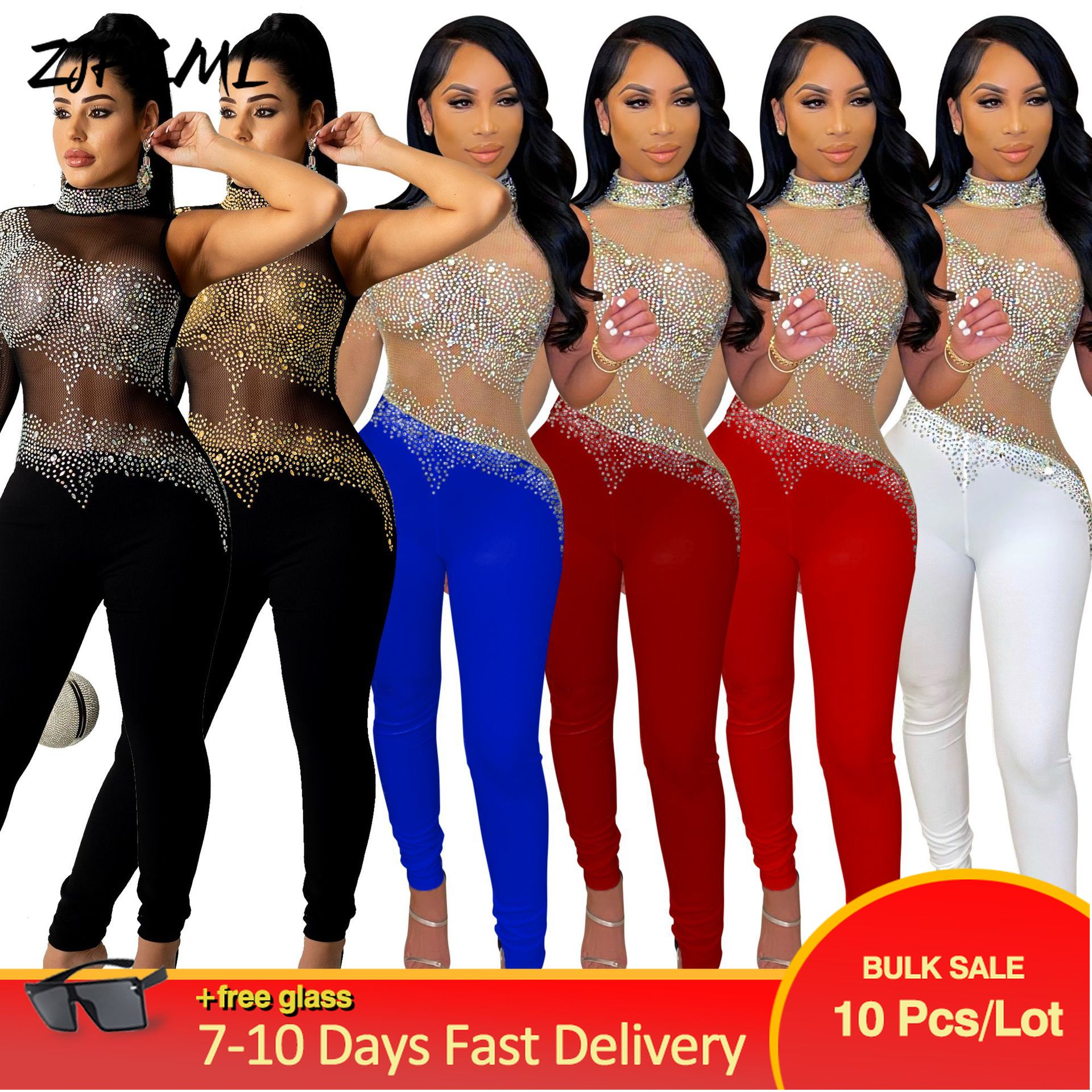 Bulk Wholesale Items Lots Womens Long Party Club Jumpsuit Sexy Sheer Mesh Rhinestones Single Full Sleeve Bodycon Skinny Outfits