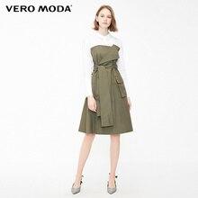 Vero Moda Women's Fake Two-piece Shirt Lace-up Splice A-line Dress   3191SZ505