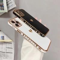Милый чехол для телефона с сердечками и боковым рисунком для iPhone 13, 12, Mini 11 Pro, X, XR, XS Max, 7, 8 Plus, SE, роскошный мягкий чехол из ТПУ с гальваническим ...