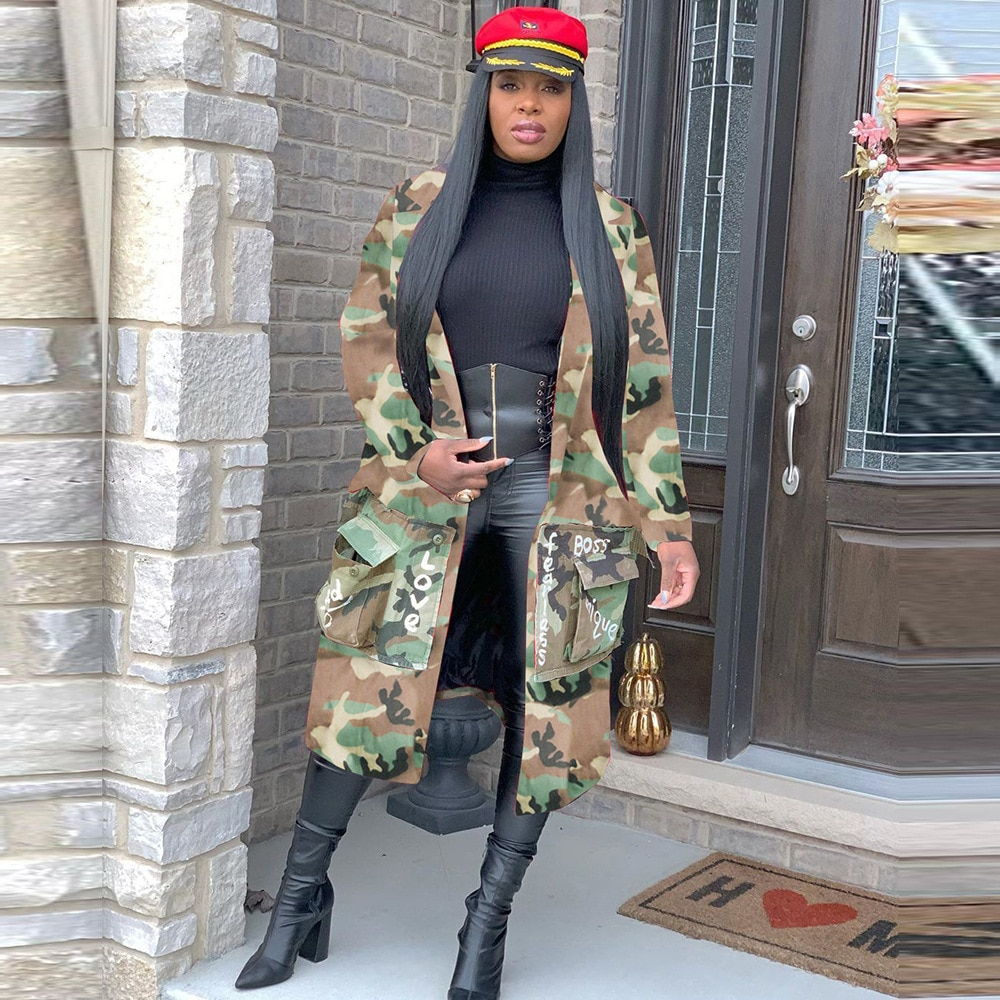 Women Camouflage Coat with pocket  Steetwear Casual Jacket Long For Outwear Autumn Winter New