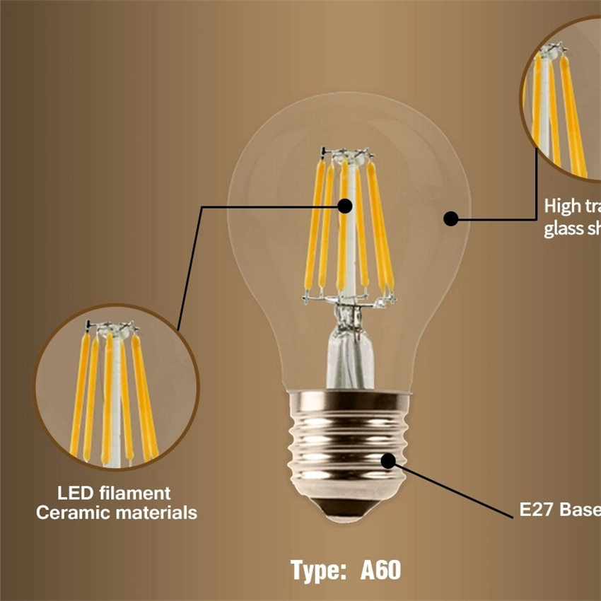 YANG MIN Free Shipping 360 Degree  6W High Quality Warm White Dimmable String Lighting Replacement LED Filament Bulbs Vintage enlarge