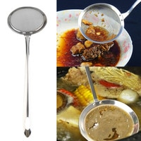 Round Network Stainless Steel Colander Spoon Filter Oil Filter Grid Scoop Cooking Tools Filtration Dumplings Kitchen Accessories
