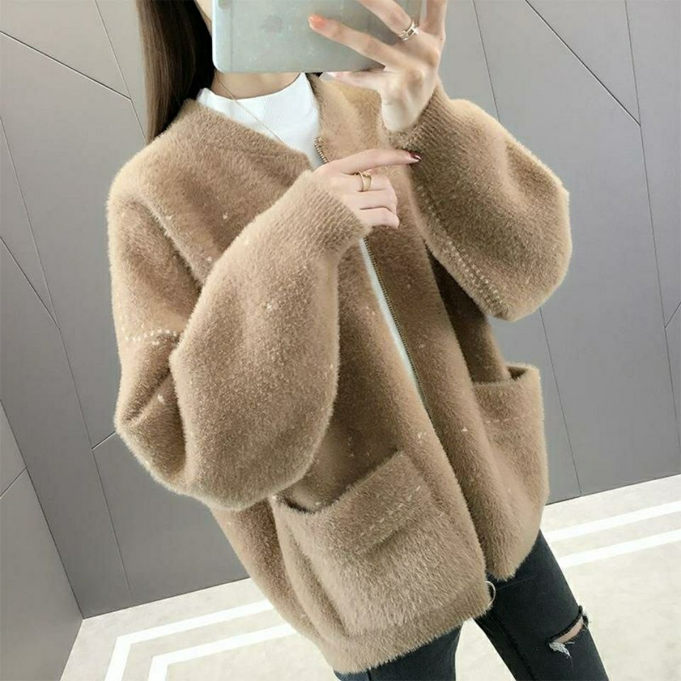 [don't lose hair] new spring and autumn women's wear imitation mink cashmere loose short knitted cardigan in 2020 enlarge