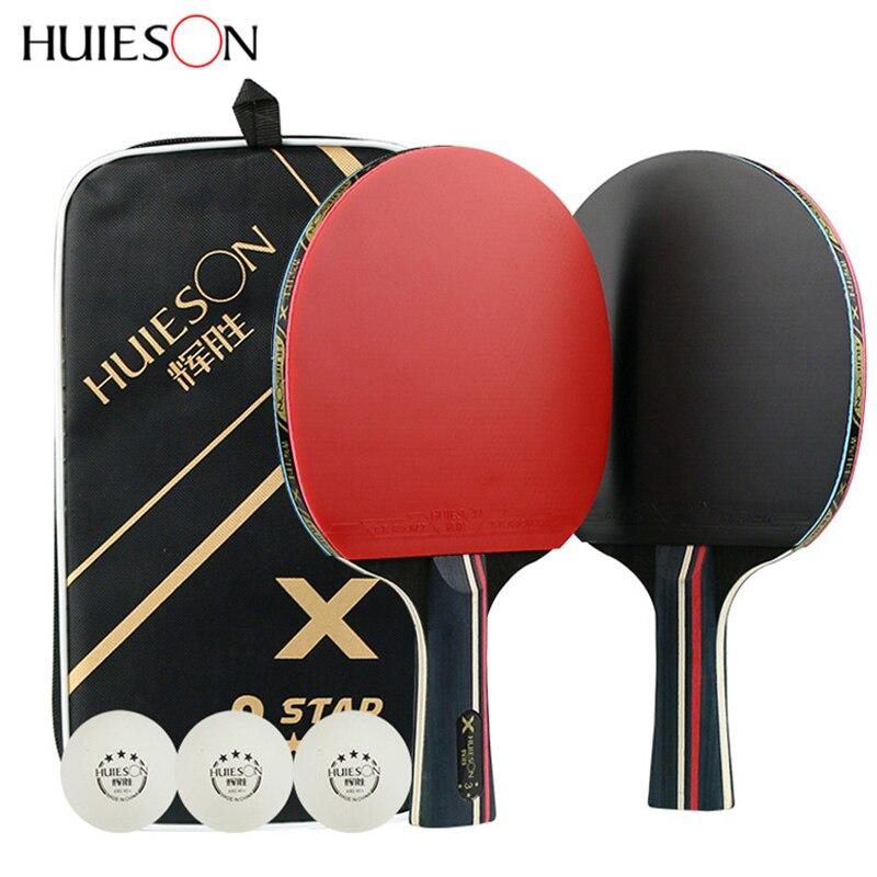 Ракетки Huieson для настольного тенниса, профессиональные резиновые карбоновые ракетки для пинг-понга, тренировочные ракетки для настольного ...