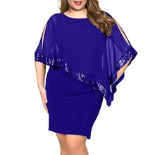 Plus Size Summer Dress Women Cold Shoulder Overlay Asymmetric Chiffon Strapless Sequins Party Dresse