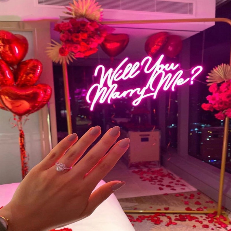 OHANEONK Will you marry me Custom Name Neon Light Sign for Propose Marriage Wedding Party Club Bar Room Wall Hanging  Decor enlarge