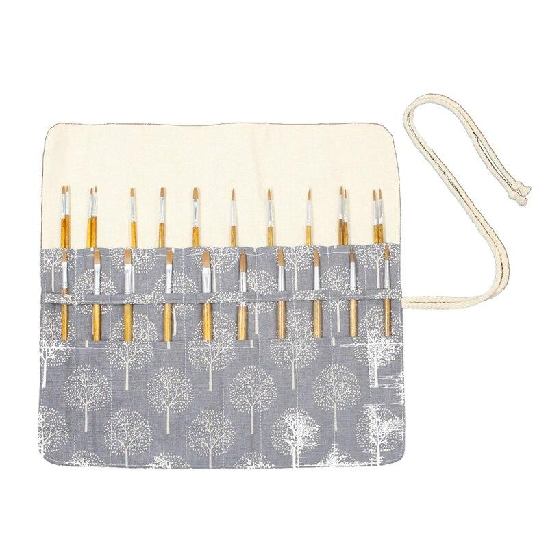 Estuche de pinceles de pintura para artistas de 20 agujeros de 15 pulgadas estuche enrolladas para bolígrafos bolsa de lona (árbol gris sin pinceles)