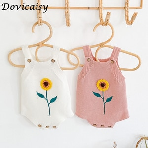 Newborn Baby Romper Sleeveless Knitting Baby Jumpsuit Boy and Girl Romper sunflower Infant Toddler Cotton Baby Suspender Clothes