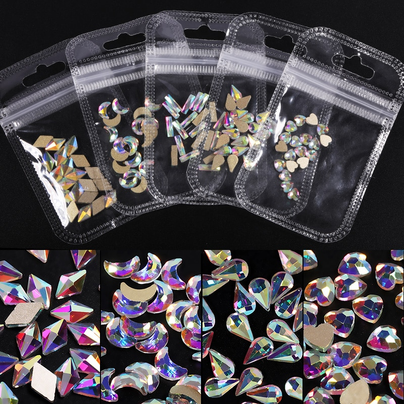 Crystals Clear AB Glass Rhinestone Stones Solid Flat Back Nail Ornaments Colorful Granular Three-Dimensional Nail Art Decoration superconductivity in two dimensional crystals