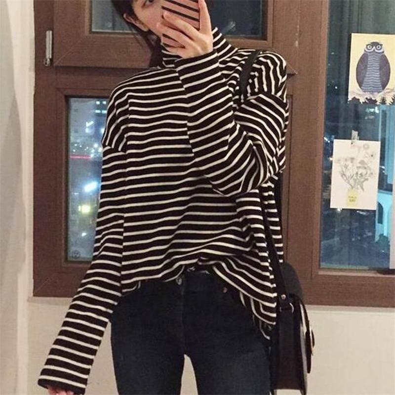 2020 primavera otoño mujeres t camisa Harajuku rayas simples Camiseta de manga larga de cuello de tortuga slim camisetas de mujer blanco y negro Top Tees