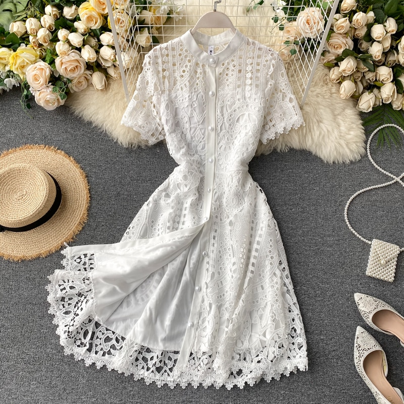 2021 летнее платье для женщин в винтажном стиле Открытое платье с коротким рукавом платье ниже колен с высокой талией с поясом пуговицами Новый женский платье с вышивкой