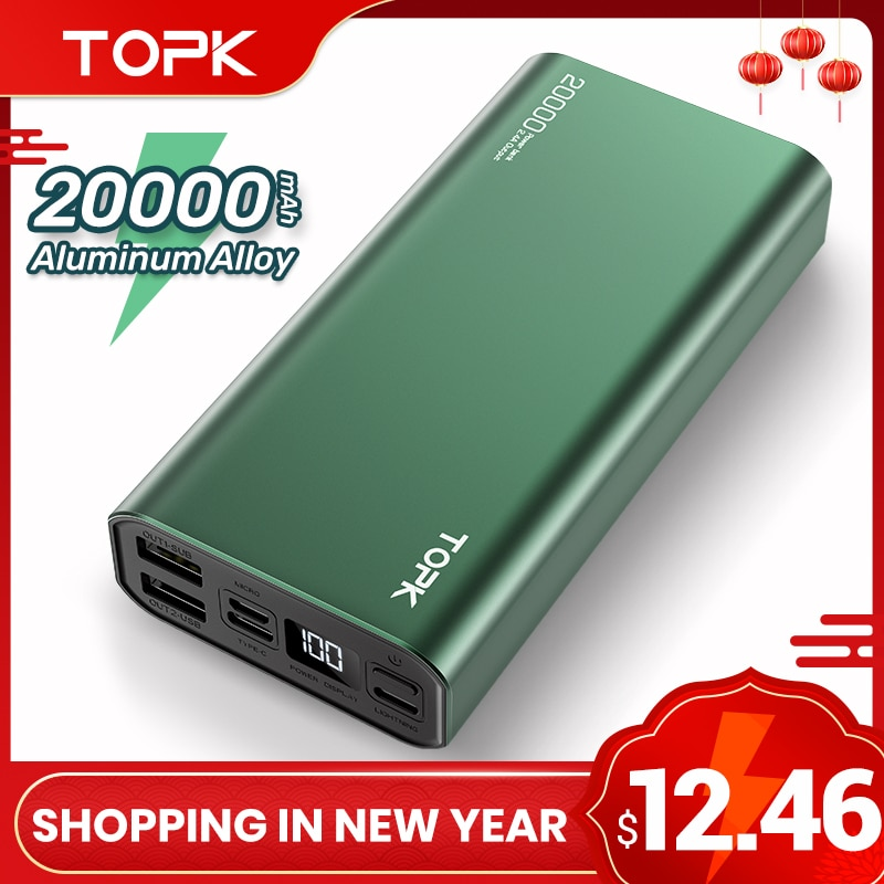 TOPK Power Bank 20000mAh Portable Charging LED External Battery PowerBank 20000 mAh for iPhone 12 Xi