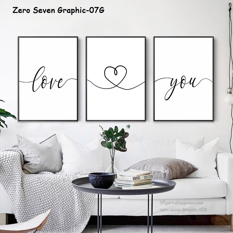 Preto e branco doce frase amor você personalizado data pintura da lona cartaz impressão sala de estar quarto parede arte imagem decoração casa
