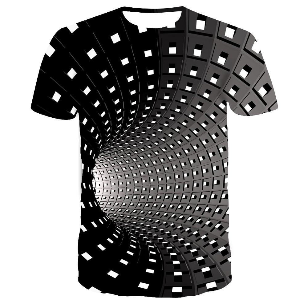 2019 verão estilo imprimir curto mangas compridas t camisa masculina preto e branco vertigo branca torcida bluzki z krotkim meskie 3d