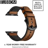 mixed leather vintage sports strap compatible with apple watch dark brown replacement belt sweat proof iwatch series 6 5 4 2 3 1