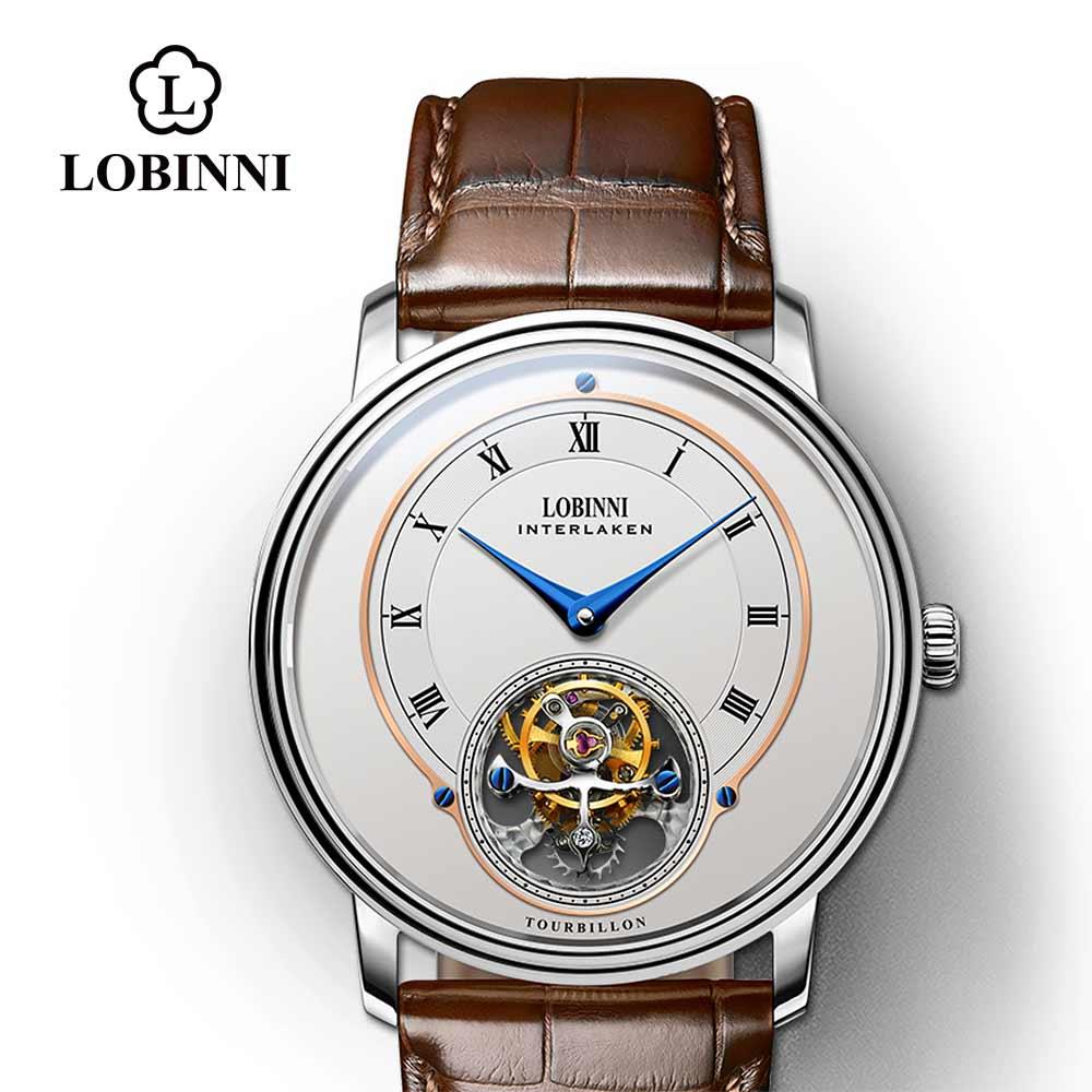 Lobinni-ساعة يد جلدية للرجال ، توربيون ، مقاومة للماء ، رجال أعمال ، ميكانيكية ، Wacthes ، موضة 8882