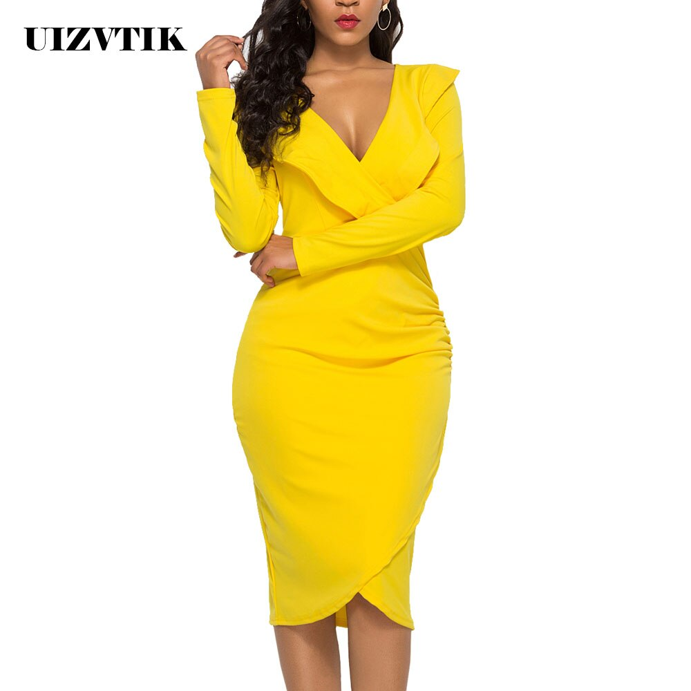 Sexy V Neck Ruffles Long Sleeve Autumn Summer Dress Women 2020 Casual Plus Size Slim Bodycon Dresses Vintage Elegant Party Dress instunning women s dress v neck long sleeve sashes sexy streetwear autumn ruched slim bodycon casual elegant party dress women