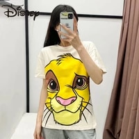 disney european and american style womens dress new round neck top lion king simba series loose and slim short sleeve t shirt