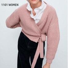 ZA nouvelles femmes pull tricoté cardigan ceintures cravate col en v solide pull décontracté style ample femme femme vêtements