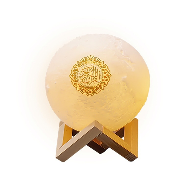 القرآن سمّاعات بلوتوث مصباح قمري مع دعم الرف APP التحكم ضوء الليل مع القرآن تلاوة ترجمة مسلم هدية