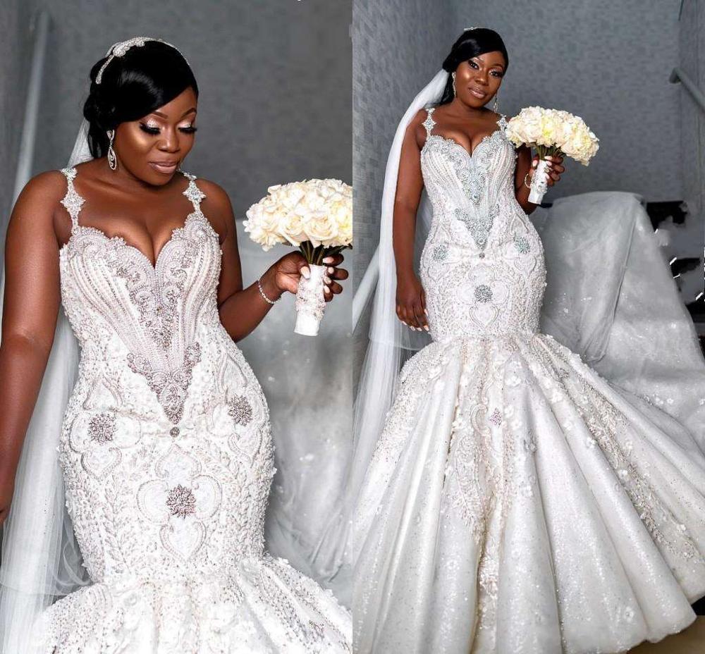 السباغيتي كريستال مطرز حورية البحر فساتين الزفاف مثير الأفريقية حجم كبير مفتوح الظهر الدانتيل زين فستان زفاف