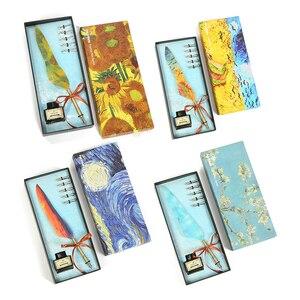 Ручка перьевая винтажная в стиле ретро, карандаш с перьями и чернилами для письма, Канцтовары, оригинальная винтажная ручка, Прямая поставка, 1 комплект