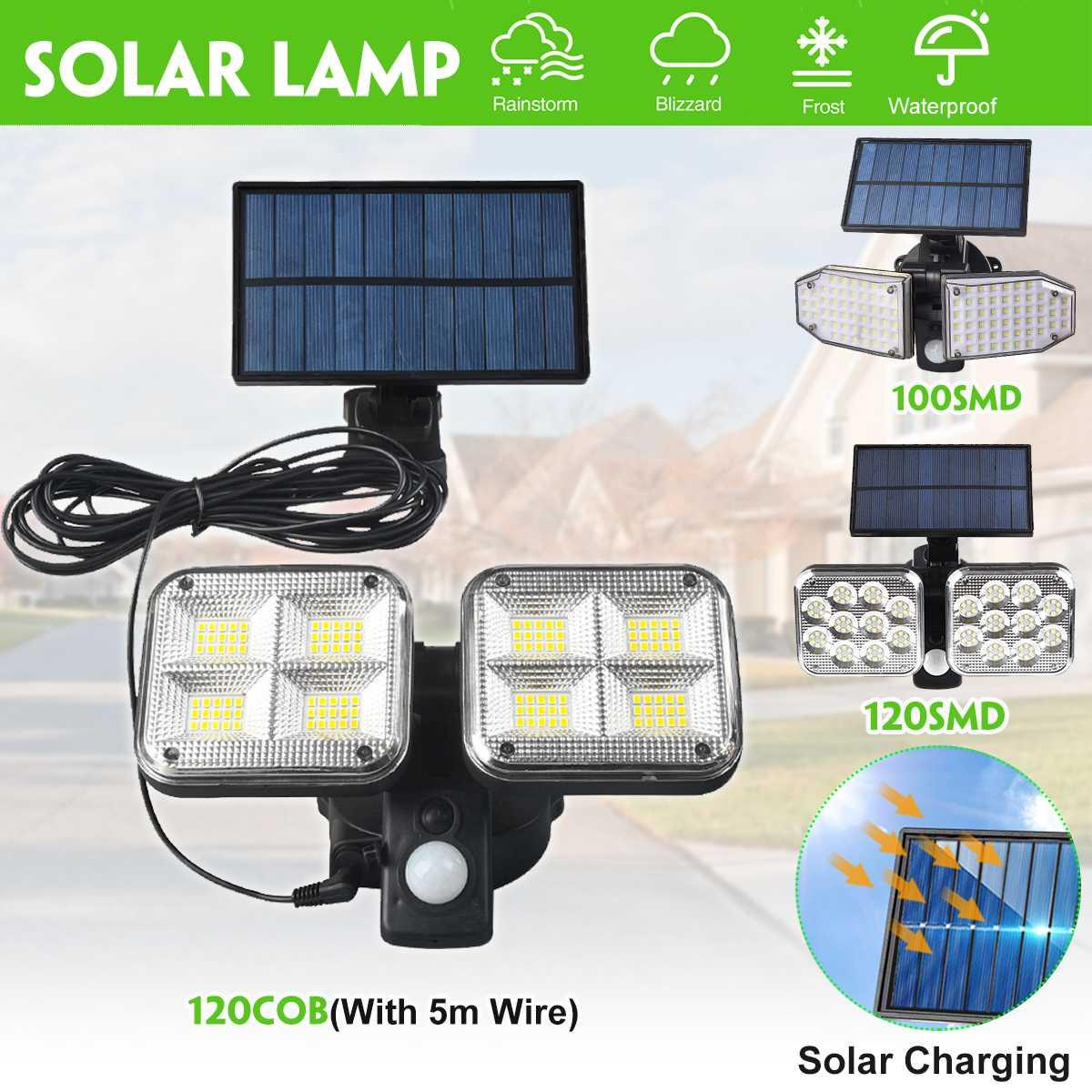 Double Head Solar Flood Light Outdoors Solar Lamp with 5m Line Outdoor Security Lighting for Home Garden Yard Street Front Door