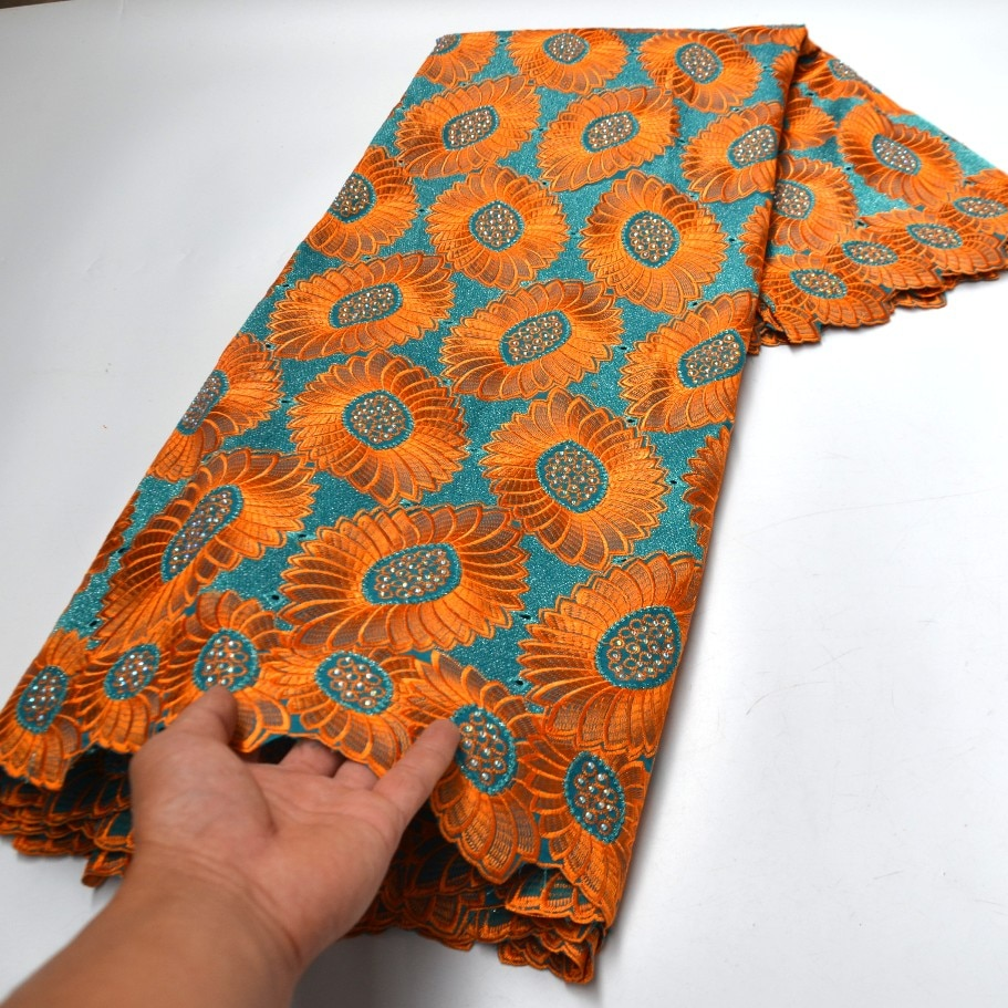 5 Yards orange high quality african swiss lace fabrics for nigerian wedding party embroidery voile laces in switzerland-N88134