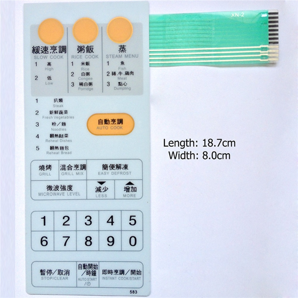 Interruptor de membrana Panel táctil botón para Sharp R-6G65 R-583 R-6C65 horno de microondas Panel del interruptor