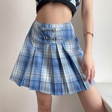 Women's College style high waist Plaid metal pleated skirt skirt y2k skirt  mini skirt  pleated skir