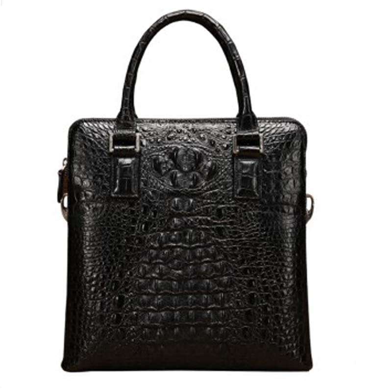 baosidu new Men crocodile Handbags crocodile leather vertical leather single shoulder bag business men crocodile bags black