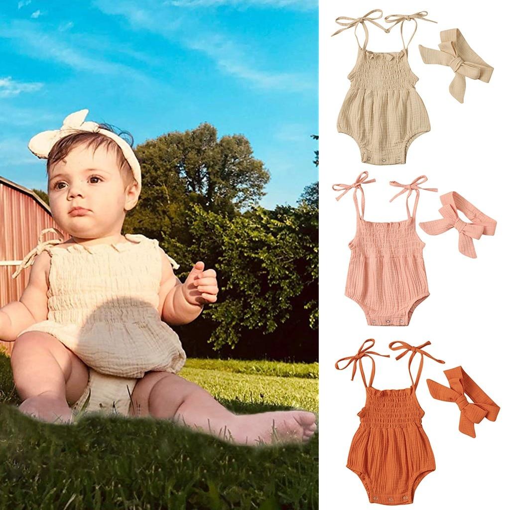 Ropa de bebé niña sin mangas sin espalda tirantes mono + diadema conjunto de ropa de verano niñas conjunto ropa de niña @ 45