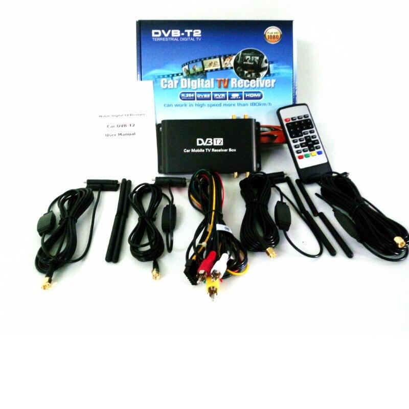 2019 nuevo 180-200 Km/H DVB-T2 FM 4 antena 4 Chip FM DVB T2 vehículo USB HDTV Receptor para Alemania