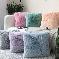solid plush faux fur pillow case cover home bed room sofa decoration waist comfort cushion cover pillowcase super soft
