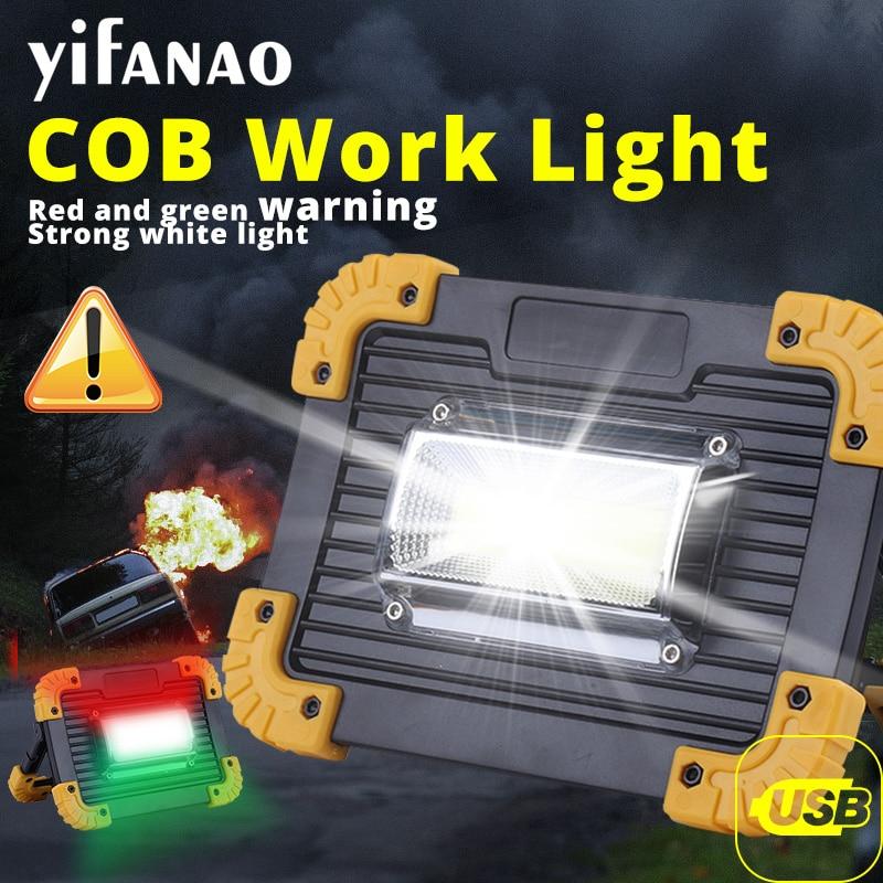 Lámpara de trabajo de 100W, lámpara de advertencia, reflector, lámpara de Camping, reflector portátil, linterna USB 18650, Banco de energía rojo y verde