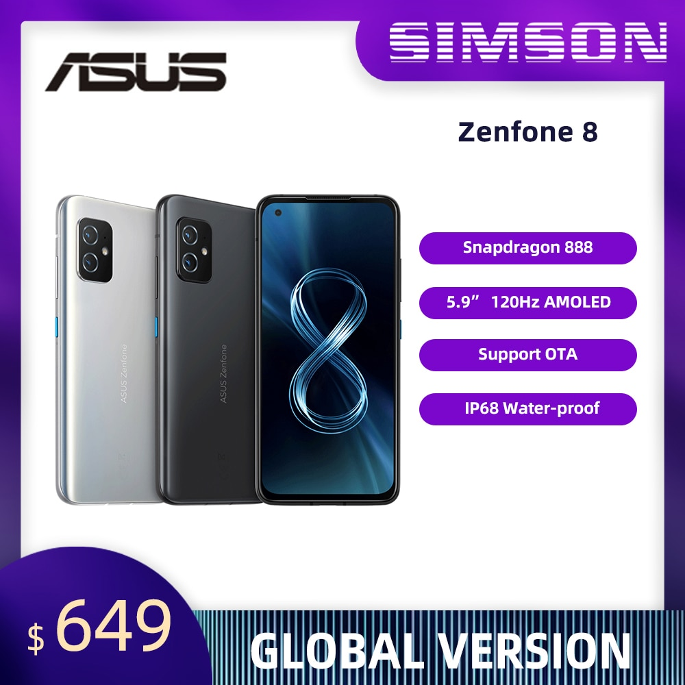 NEWEST ASUS Zenfone 8 Global Version Snapdragon 888 8/16GB RAM 128/256GB ROM AMOLED IP68 Water-Proof Android OTA 5G Smartphone