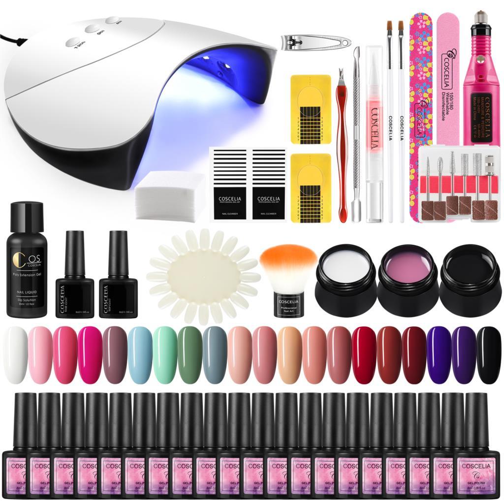 Kit de manicura LED UV para uñas lámpara de uñas taladro todo para manicura herramientas Semi permanente Gel de esmalte de uñas de arte profesional Kit de herramientas